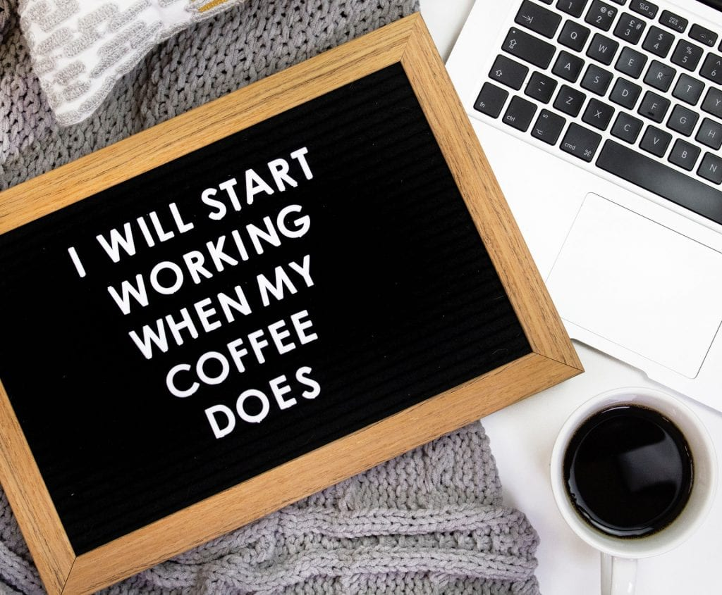 starting work with coffee